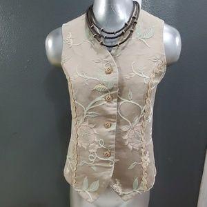 Vintage Vest Pastel Colora Beautiful Embroidery